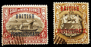 North-Borneo-110-amp-111-Missing-Period-1901-05-Errors-VF-Used-Rare-NICE
