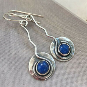 Women-925-Silver-Blue-Sapphire-Dangle-Drop-Earrings-Ear-Hook-Wedding-Party-Gift