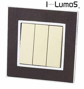 I LumoS AS Goat Skin Leather & Gold 13A UK Single/Double Socket & Light Switches