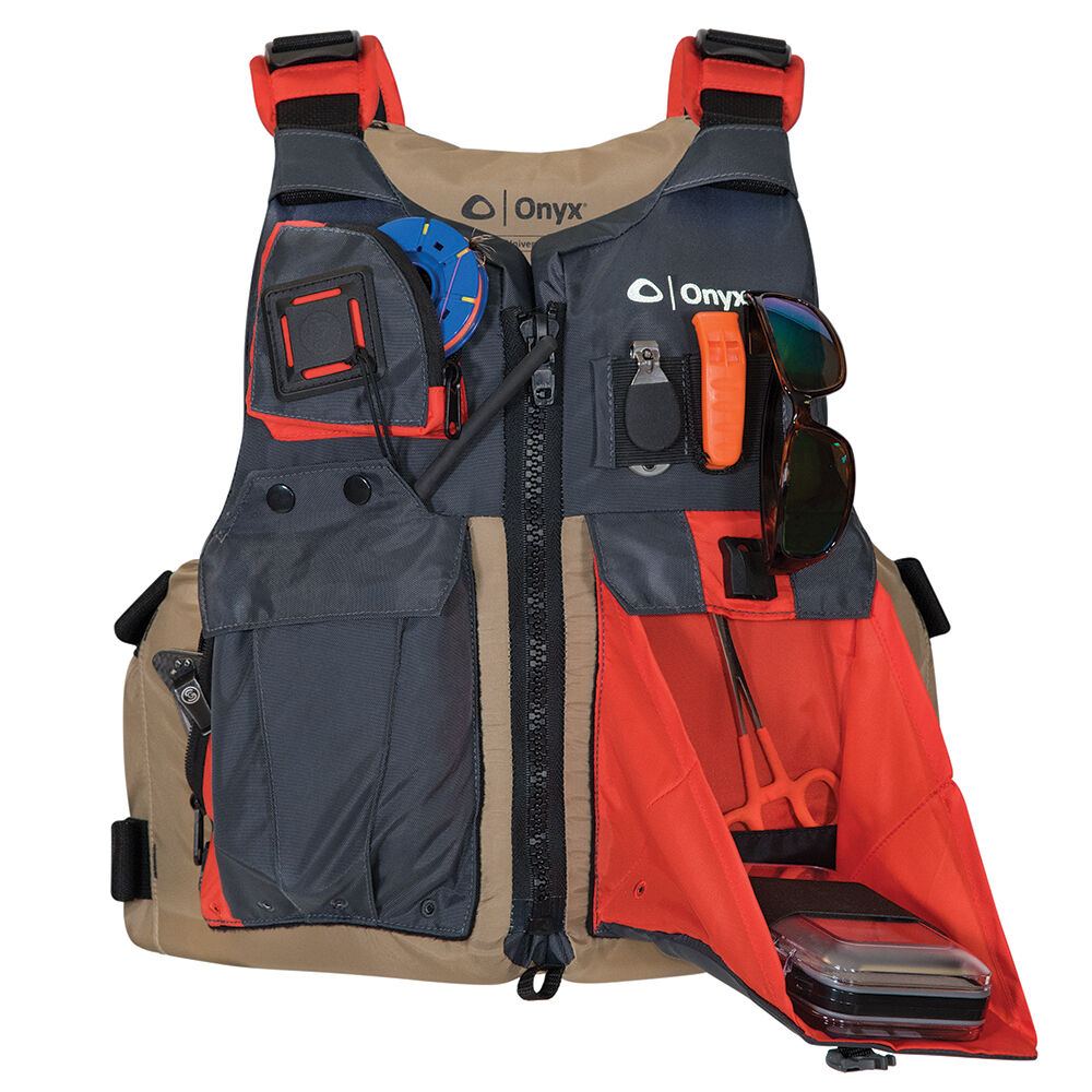 Onyx Kayak Fishing Vest - Adult Universal  - Tan Grey  lowest prices