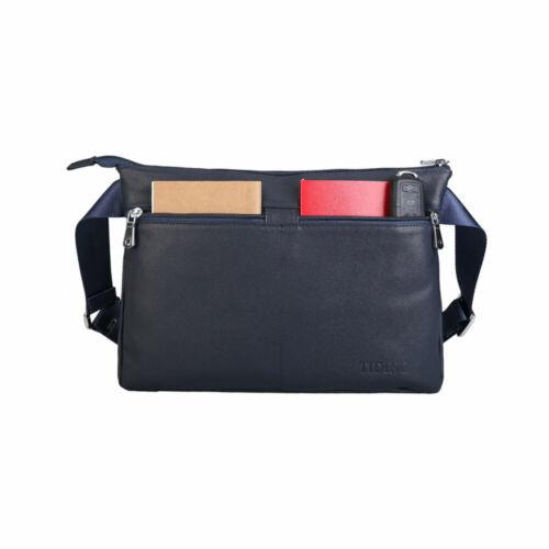 Blue Mens Leather Messenger Shoulder Bag Crossbody Bag Phone Pouch Purse Satchel