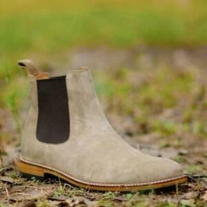 Handmade-Chelsea-Boots-Camel-Suede-Fashion-Party-Casual-Real-Calf-Leather-Shoes