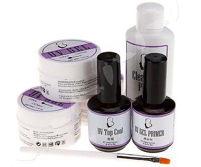 Nail Art Manicure UV Gel Base Gel Top Coat Cleanser Plus Nail Brush Base Set