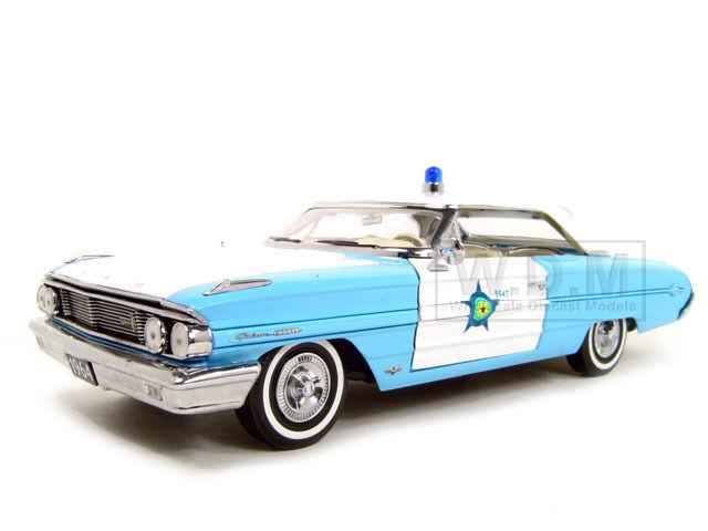 1964 Ford Galaxie 500 XL Polizei Blau 1 18 Diecast Modelauto von Sunstar 1446