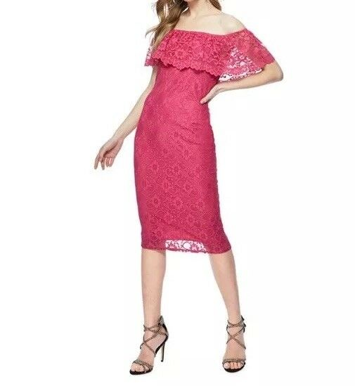 Red Herring Women's Bright Pink Lace Short Sleeve Knee Length Bardot Dress DR9DB