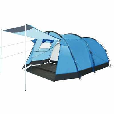 vidaXL Tunnenlzelt 4 Personen Blau Campingzelt Familienzelt Gruppenzelt Zelt | eBay