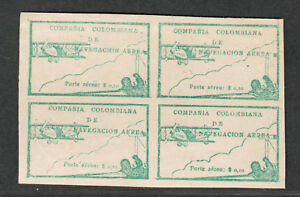 Colombia-Sc-c11-M-NG-Block-Of-4-Airmail-Stamps-Cv-240