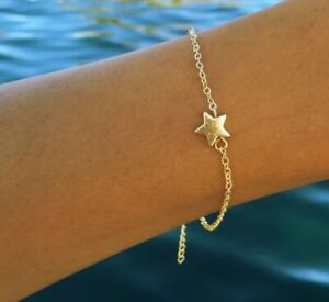 Beautiful-Mini-Star-Pendant-In-925-Yellow-Gold-Plated-Silver-Women-039-s-Bracelets
