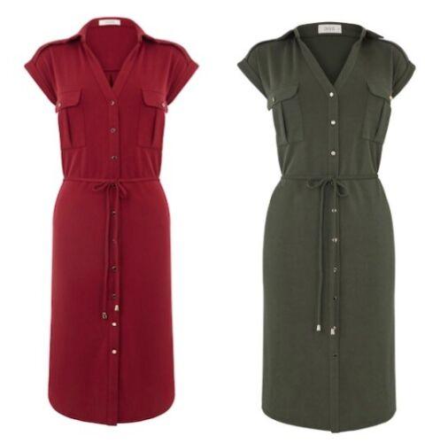 XL Détail £ 42.00 Oasis cupro Modal robe chemise kaki et Berry Tailles XS-S-M-L
