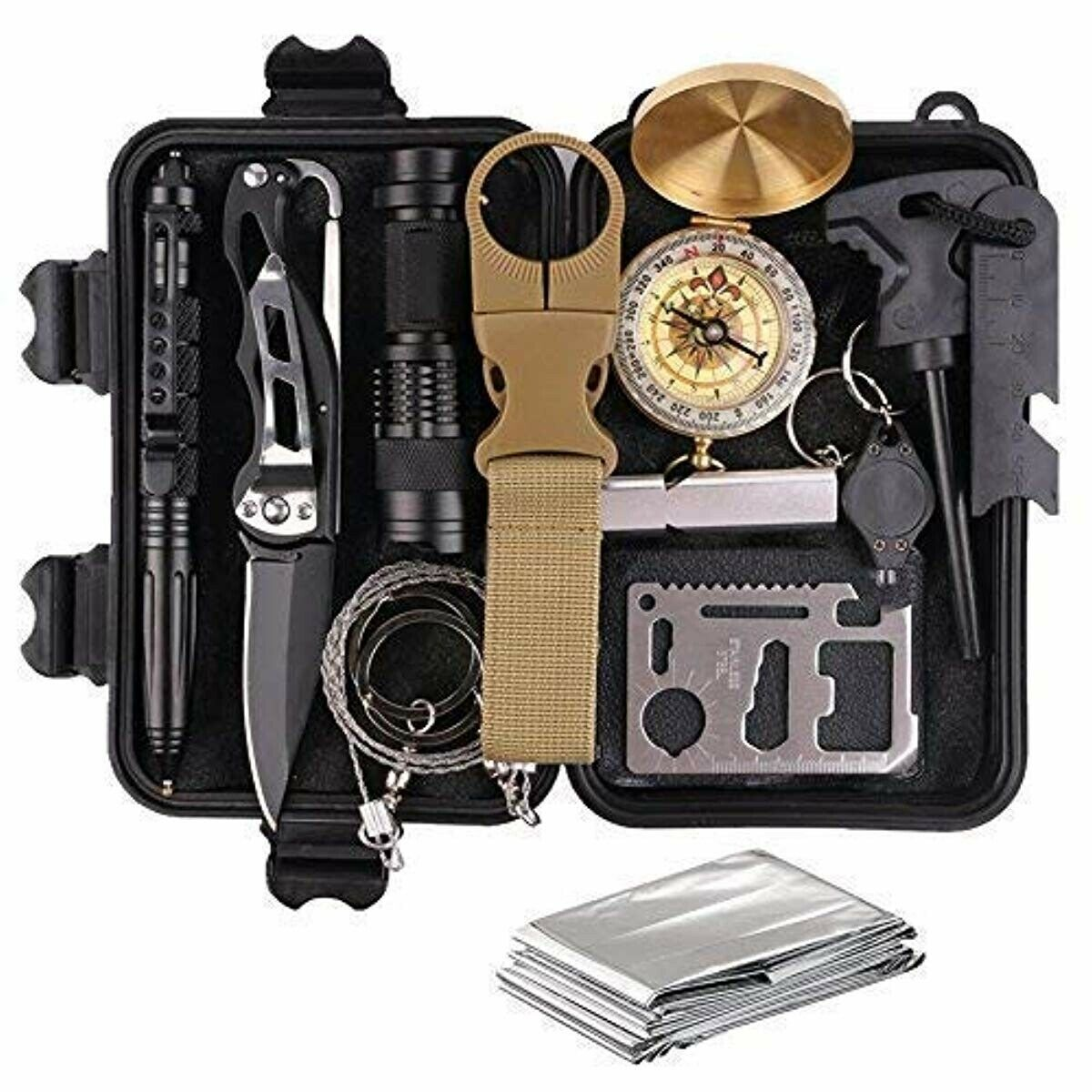 Survival Gear Kits 13 in 1- Outdoor Emergency SOS Survive Tool
