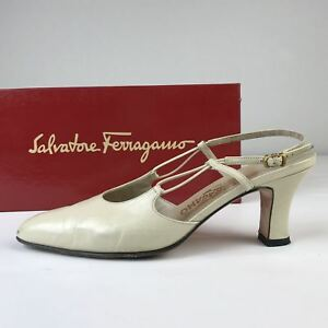 e7d684ab756 Image is loading Women-039-s-Salvatore-Ferragamo-Cream-Leather-Slingback-