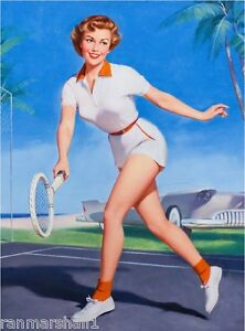 1940s pin up girl tennis player picture poster print art pin up ebay image is loading 1940s pin up girl tennis player picture poster thecheapjerseys Images