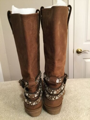 ROCKET DOG Brown Leather Moto Biker Rhinestone Har