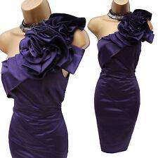 Karen Millen Purple Satin Rose Corsage One Shoulder Wiggle Cocktail Dress UK 12