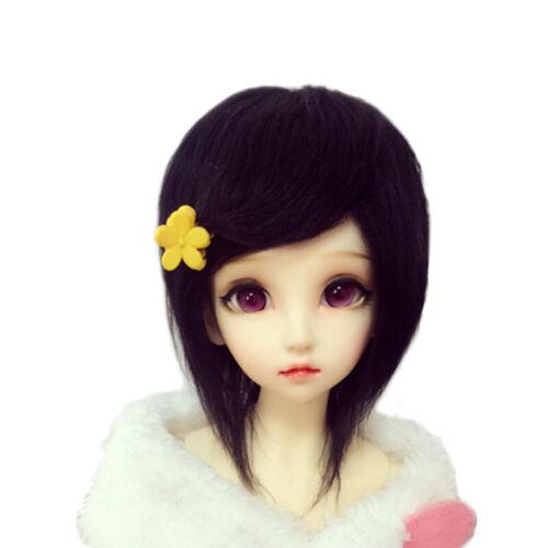 [PF] Fashion Black Medium Long Wool Wig For SD AOD DZ 1/6 BJD Dollfie 6-7