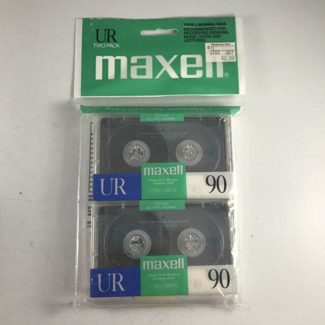 MAXELL UR 90 Blank Audio Cassette Tape 2 Pack UR90 Recording Tapes
