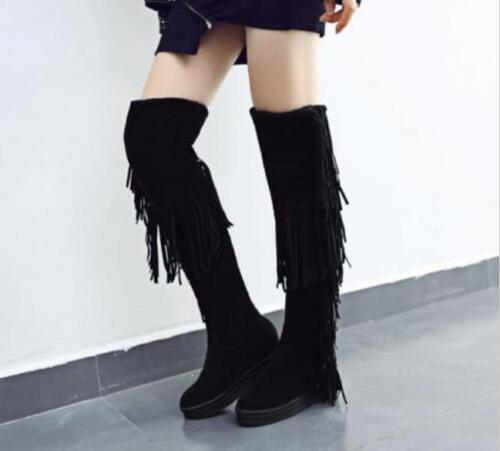 Women Long Tassel Fringe Knee High Boots Winter Wedge Heel Thicken Winter Boots@