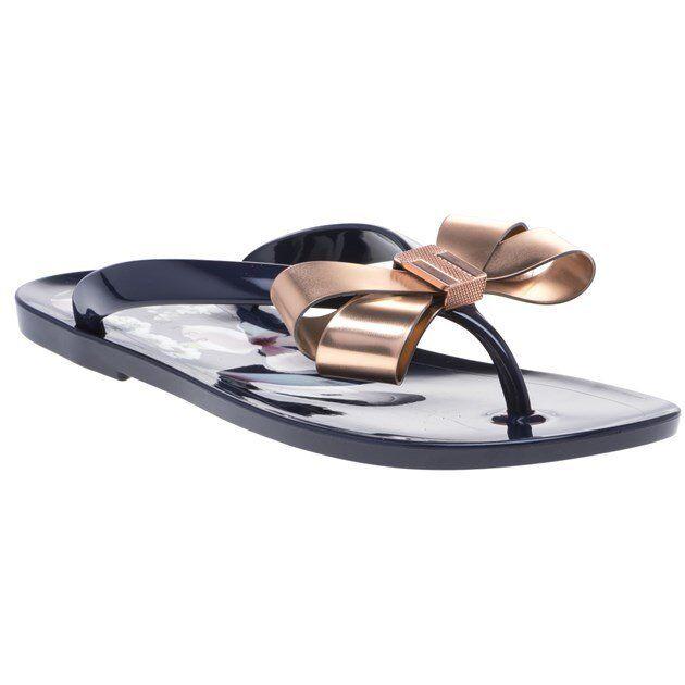 Nouveau Haut TED BAKER Navy Metallic Suzie Plastique Sandales Flats Slip On
