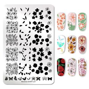 NICOLE-DIARY-Nail-Art-Stamping-Plates-Rose-Overprint-Nail-Image-Stencil-L01