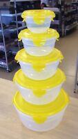 Lock & Lock 5-piece Nestable Bowl Storage Set - Choose Your Color/shape