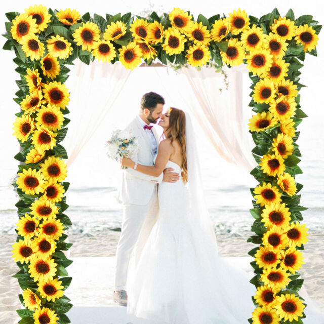 4pcs Artificial Sunflower Garland Silk Flower 7 5 Ft With10 Flowers Wedding Deco For Sale Online Ebay