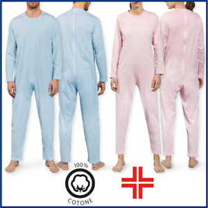 Tutone-Sanitario-pigiama-anziano-intero-con-zip-posteriore-in-puro-cotone-unisex