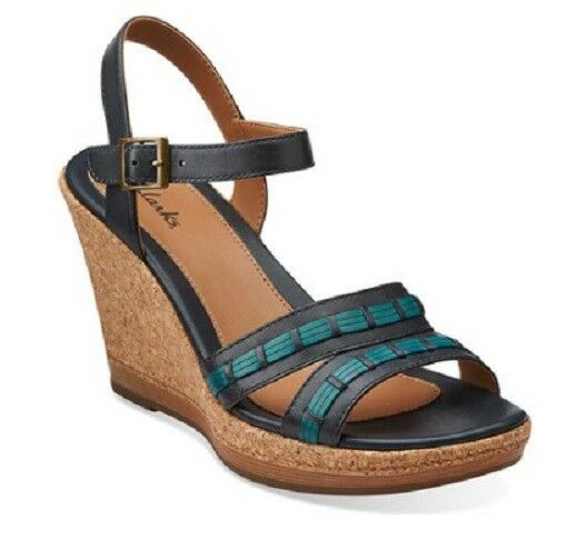 Clarks Women's Pitch Cocoa Leather Wedge Sandal 9.5M Navy bluee New In Box