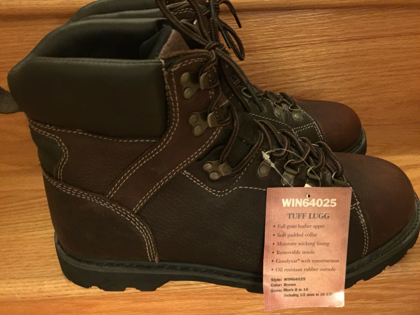 """NWT New Men's Winchester Boots Brown 13 M D 6"""" Tall Win64025 Leather Tuff Lug"""