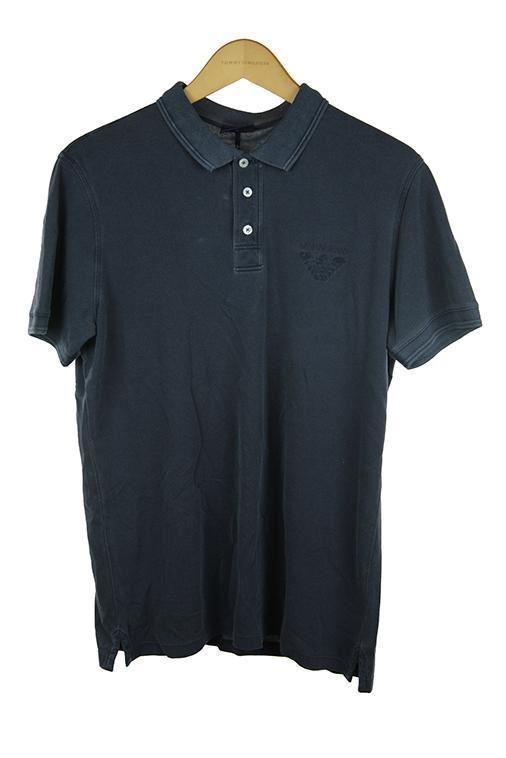 Armani jeans dark grau navy short sleeve polo top XL 100 PO40   Fairer Preis
