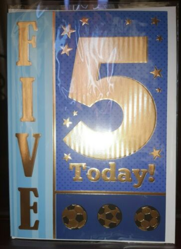 U.K SELLER GOLD WHITE ENVELOPE BLUE BOYS HAPPY 5TH  BIRTHDAY CARD