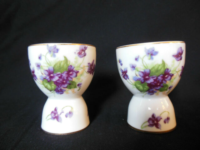 LEFTON OF JAPAN SWEET VIOLETS SET OF 2 DOUBLE EGG CUPS