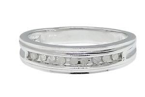 Ladies-White-Gold-Finish-Round-Cut-Diamond-Fashion-Engagement-Band-Ring-11-Ct