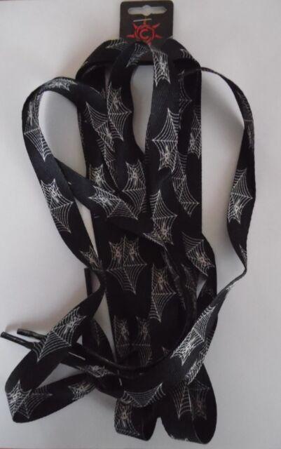 1 Paar Schnürsenkel,Shoelaces Rapper,Gothic,Punk oversize 172x1,8 cm Spinnennetz