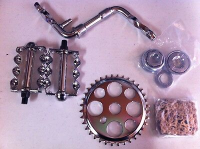 """CRANK PACKAGE 5 ITEMS FOR 20"""" BIKES TWISTED CRUISER LOWRIDER BMX CHOPPER CYCLING"""