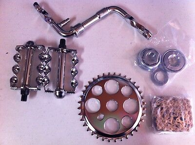 "CRANK PACKAGE 5 ITEMS FOR 20"" BIKES TWISTED CRUISER LOWRIDER BMX CHOPPER CYCLING"