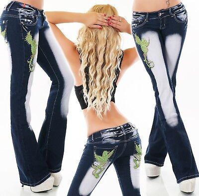 Damen Hüft Jeans BootCut Schlag Hose Stickerei Tattoo Vogel Bird Schlaghose
