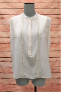 Chloe-Blouse-Milk-Embroidered-Trim-Silk-Size-42-Sleeveless-Half-Placket-Top