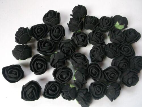 schwarze  FOAM-ROSENBLÜTEN 2 cm DEKO TISCHDEKO ! Mini ROSEN schwarz 36 kl