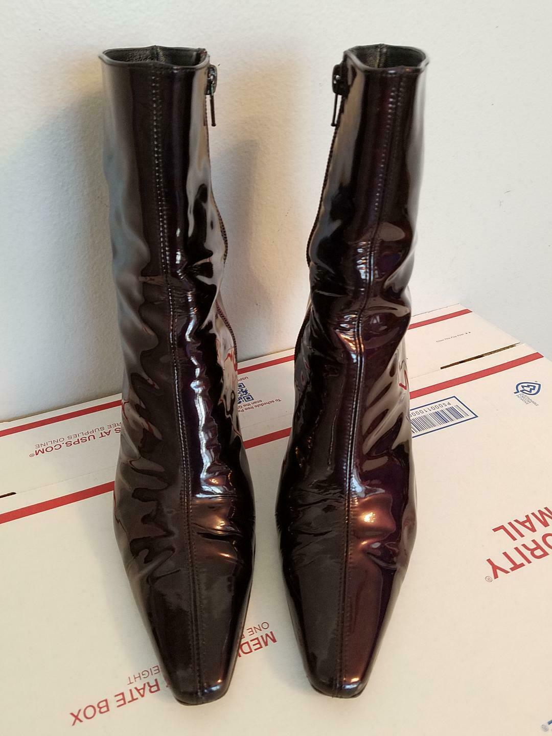 Stuart Weitzman Patent Leather Zip Ankle Boots Size 9.5 Currant Brown