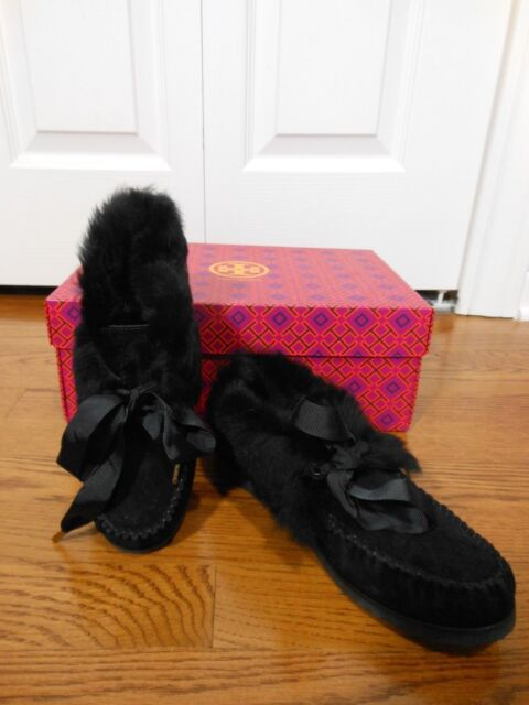 b2b60ce2a060 Buy Tory Burch Aberdeen Fur-lined Suede SLIPPER Black Size 6 online ...