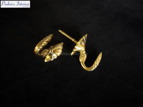 10 Solid Brass Tassel Hooks Builders Wall Egypt Cup DIY Hook 3cm Projection NEW