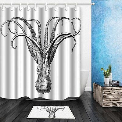 The Octopus Theme Waterproof Fabric Home Decor Shower Curtain Bathroom Mat