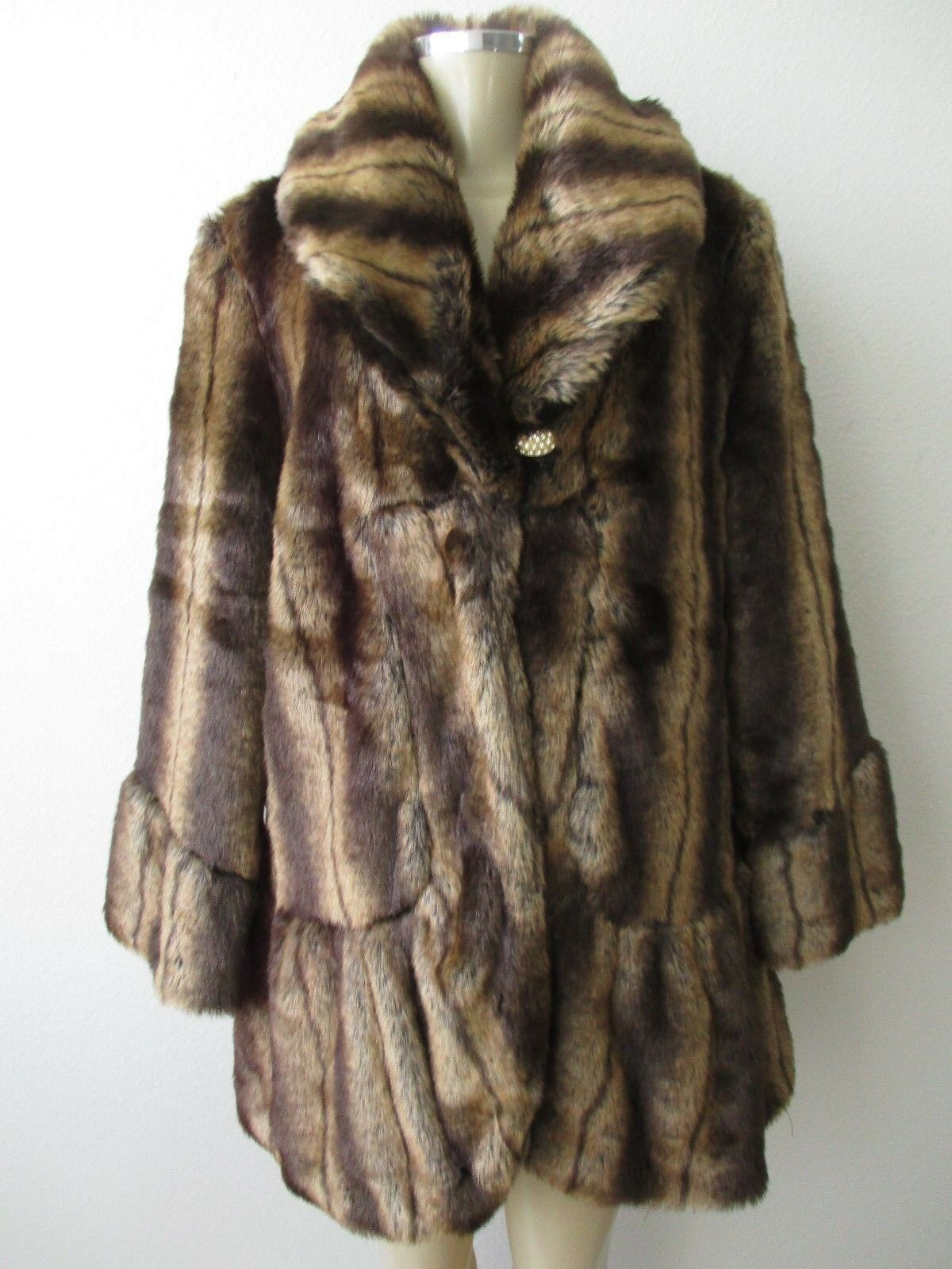 IMAN BROWN MIX PELTED FAUX FUR SWING COAT SIZE M - NWT