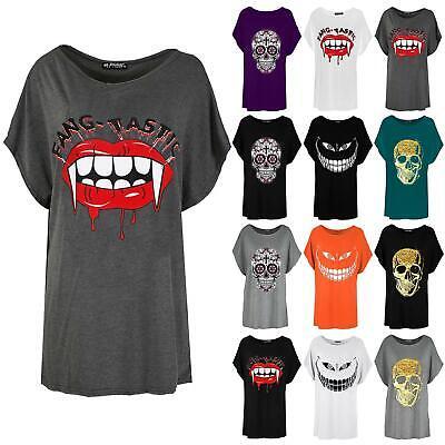 Ladies Womens One Shoulder Batwing Lips Bitting Skull Head Oversize T Shirt Top