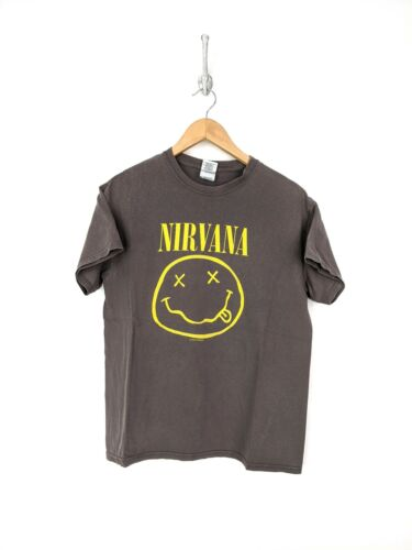 Nirvana Shirt Men Medium Gray Yellow Smile Face Ro
