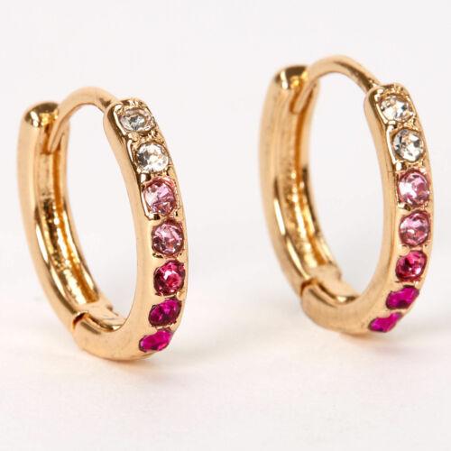 Pink Claire/'s Girl/'s Gold 10MM Embellished Huggie Hoop Earrings