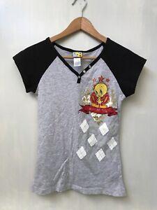 Looney Tunes Amour Tweety Bird Girls Juniors Light Blue T Shirt New Official