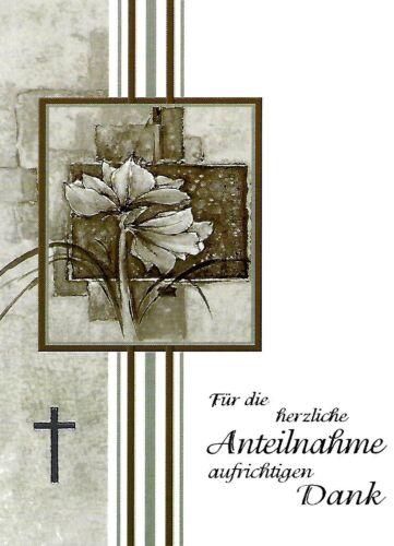 Trauer Danksagung Trauerkarten Motiv Blume Silber Kreuz