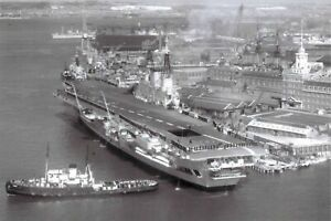 Postcard-Royal-Navy-HMS-Eagle-Aircraft-Carrier-c1965-at-Portsmouth-5L