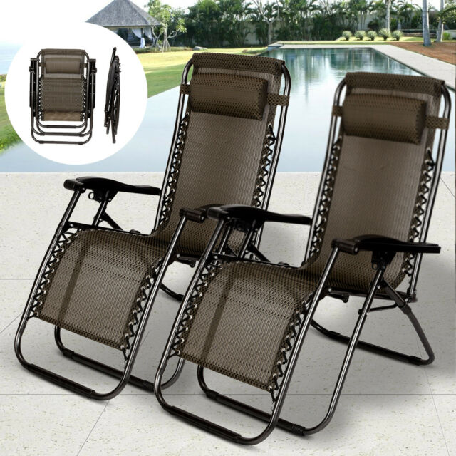 Enjoyable 2 Pcs Zero Gravity Folding Lounge Beach Chairs Outdoor Recliner In Black Paid Pdpeps Interior Chair Design Pdpepsorg